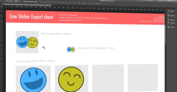 Line Sticker Creator Photoshop CC template by teerasej